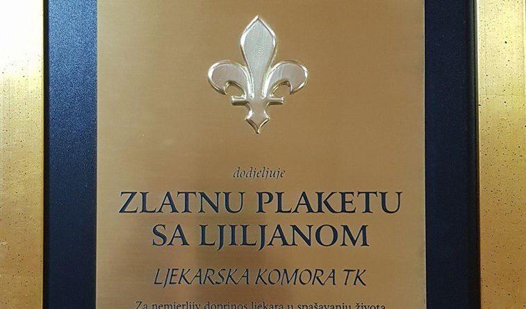Ljekarskoj komori TK dodijeljena plaketa Saveza dobitnika najvećih ratnih priznanja TK