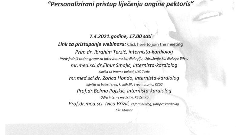 """Webinar: """"Personalizirani pristup liječenju angine pektoris"""""""